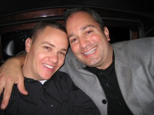 Orinda dentist Dr. Santucci and one of his colleagues enjoying a dinner out for the holidays.